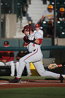 Nico Hoerner (4) of the Stanford Cardinal bats against the Southern California Trojans at Dedeaux Field on April 6, 2017 in Los Angeles, California. Southern California defeated Stanford, 7-5. (Larry Goren/Four Seam Images)