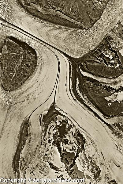 aerial map photograph of dividing glaciers near Anchorage, Alaska