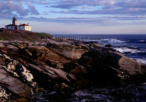 Looking toward Beavertail Lighthouse as the sun sets.