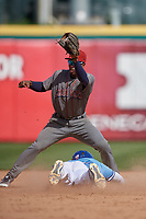 Lehigh Valley IronPigs shortstop Malquin Canelo (8) catches a throw as Anthony Alford (26) steals second base during an International League game against the Buffalo Bisons on June 9, 2019 at Sahlen Field in Buffalo, New York.  Lehigh Valley defeated Buffalo 7-6 in 11 innings.  (Mike Janes/Four Seam Images)