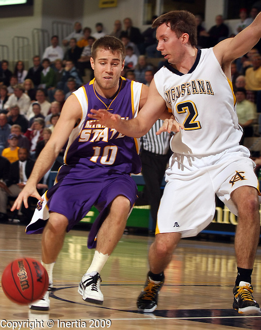 SIOUX FALLS, SD - FEBRUARY 25:  Jesse Clark #10 of Minnesota State Mankato drives on Marques Blank #2 of Augustana in the first half of their game Wednesday night at the Elmen Center. (Photo by Dave Eggen/Inertia)