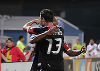 D.C. United forward Lionard Pajoy (26) celebrates his score in the 45th minute of the game with teammate Chris Pontius (13). D.C. United defeated The Chicago Fire 4-2 at RFK Stadium, Wednesday August 22, 2012.