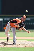 Baltimore Orioles pitcher David Hess (63) during an Instructional League game against the Tampa Bay Rays on September 15, 2014 at Ed Smith Stadium in Sarasota, Florida.  (Mike Janes/Four Seam Images)