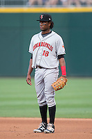 Indianapolis Indians first baseman Josh Bell (18) on defense against the Charlotte Knights at BB&T BallPark on June 17, 2016 in Charlotte, North Carolina.  The Knights defeated the Indians 4-0.  (Brian Westerholt/Four Seam Images)
