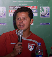 Wilmer Cabrera speaks after the game. Spain defeated the U.S. Under-17 Men National Team  2-1 at Sani Abacha Stadium in Kano, Nigeria on October 26, 2009.
