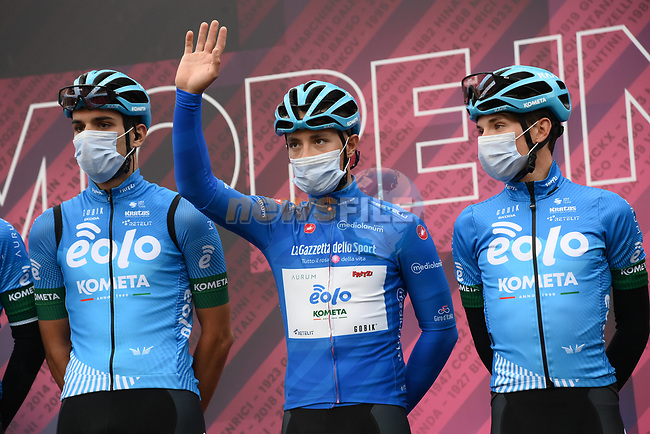 Maglia Azzurra Vincenzo Albanese (ITA) and Eolo-Kometa Cycling Team at sign on before the start of Stage 3 of the 2021 Giro d'Italia, running 190km from Biella to Canale, Italy. 10th May 2021.  <br /> Picture: LaPresse/Gian Mattia D'Alberto | Cyclefile<br /> <br /> All photos usage must carry mandatory copyright credit (© Cyclefile | LaPresse/Gian Mattia D'Alberto)