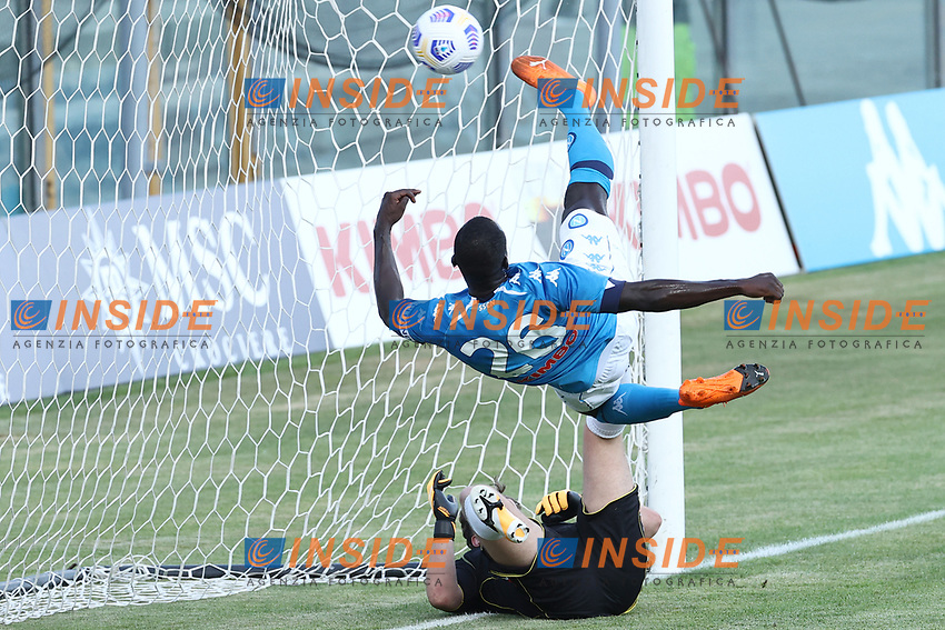 Kalidou Koulibaly of SSC Napoli scores a goal during the friendly football match between SSC Napoli and Castel di Sangro Cep 1953 at stadio Patini in Castel di Sangro, Italy, August 28, 2020. <br /> Photo Cesare Purini / Insidefoto