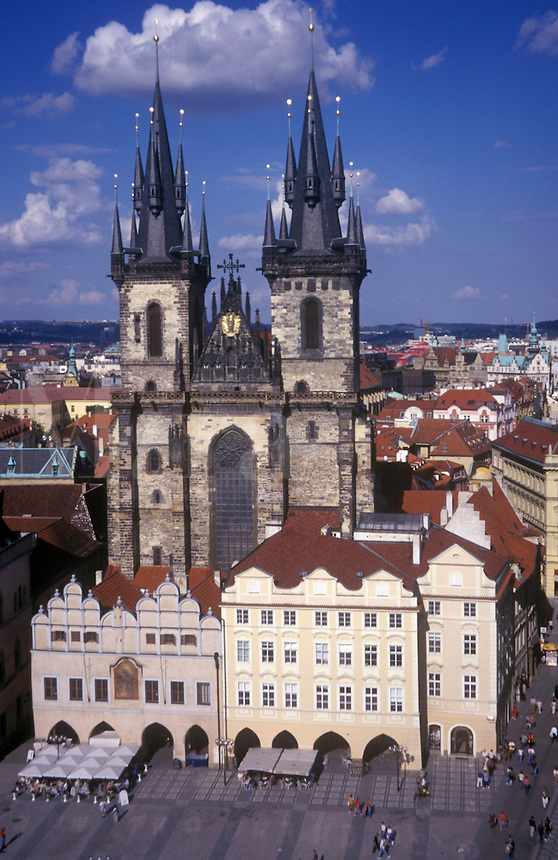 Elevated view of Church of Our Lady Before Tyn, Old Town Square, Prague, Czech Republic