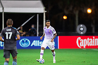 LAKE BUENA VISTA, FL - AUGUST 06: Antonio Carlos #25 of Orlando City SC dribbling the ball during a game between Orlando City SC and Minnesota United FC at ESPN Wide World of Sports on August 06, 2020 in Lake Buena Vista, Florida.