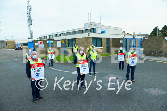 Workers on strike at the ESB premises on Friday.