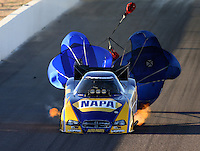 Feb 21, 2014; Chandler, AZ, USA; NHRA funny car driver Ron Capps during qualifying for the Carquest Auto Parts Nationals at Wild Horse Pass Motorsports Park. Mandatory Credit: Mark J. Rebilas-USA TODAY Sports
