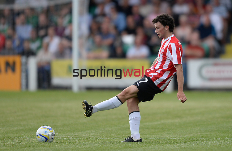10 July 2014; Barry McNamee, Derry City, in action against  Aberystwyth Town. UEFA Europa League First Qualifying Round, Second Leg, Aberystwyth Town v Derry City. Park Avenue, Aberystwth, Wales. Picture credit: Ian Cook / SPORTINGWALES