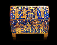 Medieval enamelled box with scenes of the Massacre of the Innocents, last quarter of the 12th century from Limoges, enamel on gold. Monflanquin, Lot-en-Gironne. AD. Inv OA 10406, The Louvre Museum, Paris.
