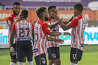 BARRANQUIILLA - COLOMBIA, 20-03-2021: Jugadores del Junior celebran después de anotar el primer gol durante el partido por la fecha 13 de la Liga BetPlay DIMAYOR I 2021 entre Atlético Junior y Deportivo Pereira jugado en el estadio Metropolitano Roberto Meléndez de la ciudad de Barranquilla. / Players of Junior celebrate after scoring the first goal during match for date 13 as part of BetPlay DIMAYOR League I 2021 between Atletico Junior and Deportivo Pereira played at Metropolitano Roberto Melendez stadium in Barranquilla city. Photo: VizzorImage / Jairo Cassiani / Cont