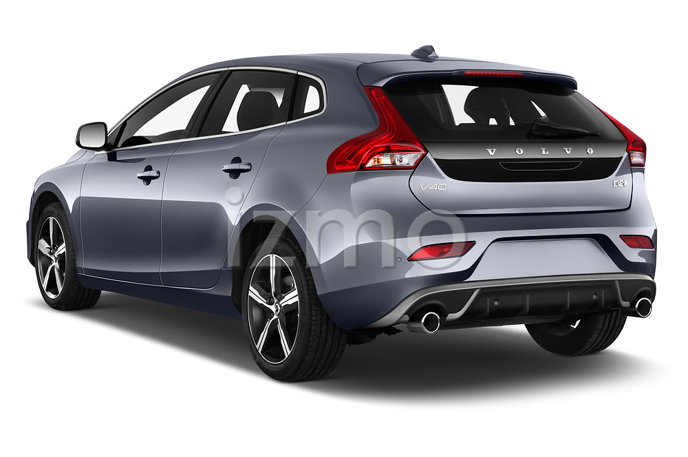 Car pictures of rear three quarter view of a 2018 Volvo V40 R-Design 5 Door Hatchback angular rear
