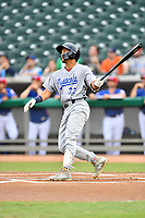 Pensacola Blue Wahoos shortstop Jose Siri (3) swings at a pitch during a game against the Tennessee Smokies at Smokies Stadium on August 30, 2018 in Kodak, Tennessee. The Blue Wahoos defeated the Smokies 5-1. (Tony Farlow/Four Seam Images)