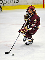 10 January 2009: Boston College Eagles' defenseman Tommy Cross, a Freshman from Simsbury, CT, in action during the second game of a weekend series against the University of Vermont Catamounts at Gutterson Fieldhouse in Burlington, Vermont. The Catamounts rallied from an early 2-0 deficit to defeat the visiting Eagles 4-2. Mandatory Photo Credit: Ed Wolfstein Photo