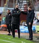 13.12.2020 Dundee Utd v Rangers: Steven Gerrard reacts to a late challenge on one of his players