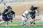 San Diego, CA 05/25/13 - Henry Gardener (Carlsbad #7), Robert Sweeney  (Carlsbad #11) and Luke Seydel (Westview #14) in action during the 2013 Boys Lacrosse San Diego CIF DIvision 1 Championship game.  Westview defeated Carlsbad 8-3. in action during the 2013 Boys Lacrosse San Diego CIF DIvision 1 Championship game.  Westview defeated Carlsbad 8-3.