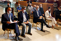 Three of the candidates mayor of Rome at the next elections, Carlo Calenda, Roberto Gualtieri and Virginia Raggi during a conference in the Giulio Cesare hall of the Campidoglio. <br /> Rome (Italy), September 15th 2021<br /> Photo Samantha Zucchi Insidefoto