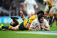 Ben Morgan of England scores a try during the QBE International match between England and Australia at Twickenham Stadium on Saturday 29th November 2014 (Photo by Rob Munro)