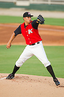 Starting pitcher Cameron Bayne #10 of the Kannapolis Intimidators in action against the Greensboro Grasshoppers at Fieldcrest Cannon Stadium August 2, 2010, in Kannapolis, North Carolina.  Photo by Brian Westerholt / Four Seam Images