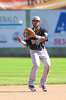 Lansing Lugnuts shortstop Jesus Navarro (37) awaits a throw between innings during a Midwest League game against the Clinton LumberKings on July 15, 2018 at Ashford University Field in Clinton, Iowa. Clinton defeated Lansing 6-2. (Brad Krause/Four Seam Images)