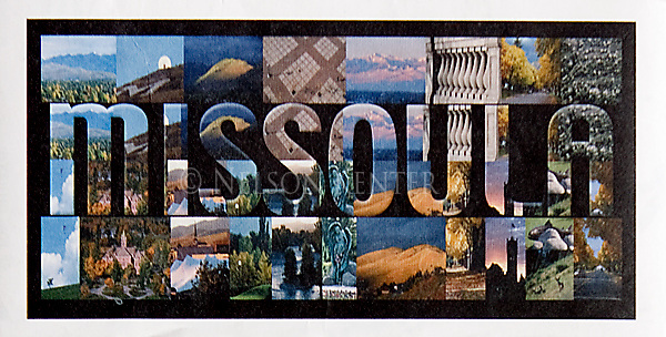 Collage of Missoula, Montana photos used on the cover of a map
