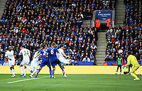 Leonardo Ulloa of Leicester City scores his sides second goal during the Barclays Premier League match between Leicester City and Swansea City played at The King Power Stadium, Leicester on April 24th 2016