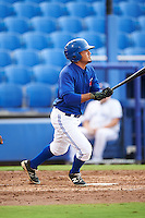 GCL Blue Jays left fielder Norberto Obeso (28) at bat during the first game of a doubleheader against the GCL Phillies on August 15, 2016 at Florida Auto Exchange Stadium in Dunedin, Florida.  GCL Phillies defeated the GCL Blue Jays 7-5 in a continuation of a game originally started on July 30th.  (Mike Janes/Four Seam Images)