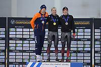 SPEEDSKATING: 13-02-2020, Utah Olympic Oval, ISU World Single Distances Speed Skating Championship, Podium 5000m Men, Sven Kramer (NED), Ted-Jan Bloemen (CAN), Graeme Fish (CAN), ©Martin de Jong