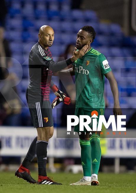 Goalkeeper Heurelho Gomes of Watford & Nathaniel Chalobah of Watford at full time during the Carabao Cup Round 2 match between Reading and Watford at the Madejski Stadium, Reading, England on 29 August 2018. Photo by Andy Rowland
