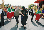 This unruly couple helped entertain the crowds at the Fleadh Nua parade in Ennis - date unknown (1998-2000). Photograph by John Kelly