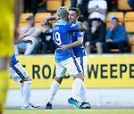 St Johnstone v Falkirk…24.07.18…  McDiarmid Park    Betfred Cup<br />Stefan Scougall celebrates his goal with Richie Foster<br />Picture by Graeme Hart. <br />Copyright Perthshire Picture Agency<br />Tel: 01738 623350  Mobile: 07990 594431