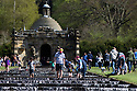 04/05/15<br /> <br /> People cool-off in the Cascade as they flock to enjoy the Bank Holiday Monday weather in the gardens of Chatsworth House, in the Derbyshire Peak District. <br /> <br /> All Rights Reserved - F Stop Press.  www.fstoppress.com. Tel: +44 (0)1335 418629 +44(0)7765 242650