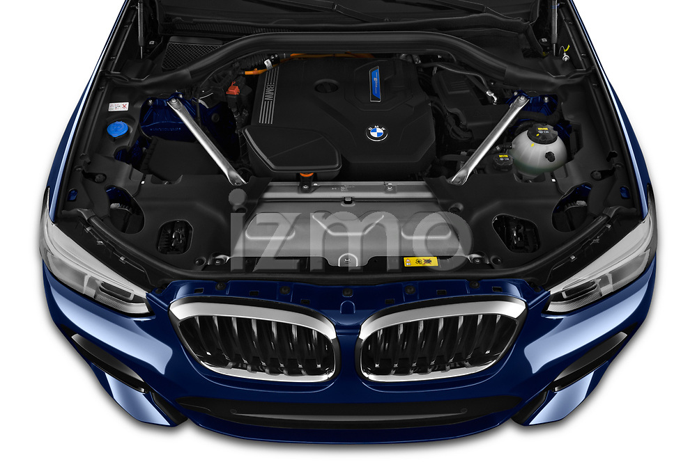 Car Stock 2020 BMW X3 M-Sport 5 Door SUV Engine  high angle detail view