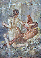 Satyr being rejected by Hermaphrodite, a Roman erotic fresco painting from Pompeii, 50-79 AD , inv no 110878 , Secret Museum or Secret Cabinet, Naples National Archaeological Museum