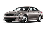 Stock pictures of low aggressive front three quarter view of 2018 KIA Optima LX 4 Door Sedan Low Aggressive