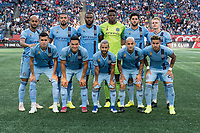 FOXBOROUGH, MA - SEPTEMBER 29: New York City FC starting eleven during a game between New York City FC and New England Revolution at Gillettes Stadium on September 29, 2019 in Foxborough, Massachusetts.