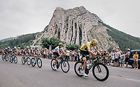 Chris Froome (GBR/SKY) riding through the town of Sisteron with it's distinctive monumental rock formations<br /> <br /> 104th Tour de France 2017<br /> Stage 19 - Embrun › Salon-de-Provence (220km)