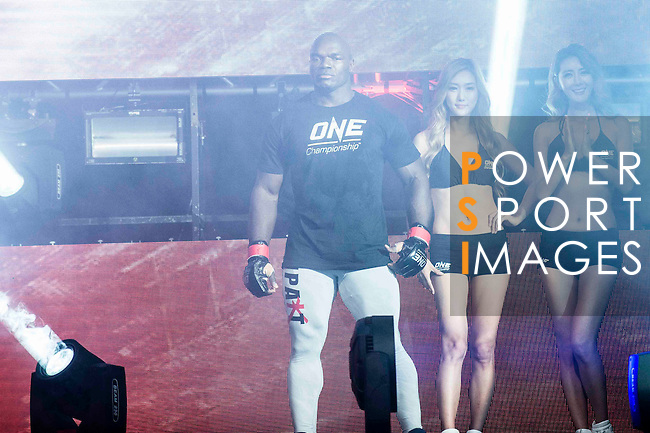 Flyweight World Championship Alain Ngalani of Hong Kong arrives to the ring for his fight against Alexandre Machado of Brazil on 13 August 2016 at The Venetian Macao Cotai Arena in Macau, China. Photo by Marcio Machado / Power Sport Images