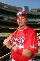 August 9 2008: Donavan Tate participates in the Aflac All American baseball game for incoming high school seniors at Dodger Stadium in Los Angeles,CA.  Photo by Larry Goren/Four Seam Images