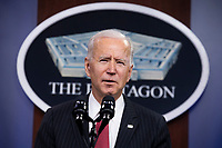 US President Joe Biden delivers remarks to Department of Defense personnel, at the Pentagon in Arlington, Virginia, USA, 10 February 2021.<br /> CAP/MPI/RS<br /> ©RS/MPI/Capital Pictures