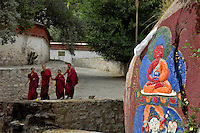 Buddhist Mongs walking inside the Monestary,Lhasa