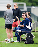 USWNT head coach Pia Sundhage talks with UNC head coach Anson Dorrance and Cindy Parlow during practice at WakeMed Soccer Park in Cary, NC.