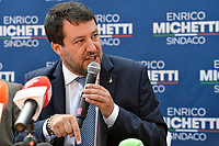 The leader of Lega right party Matteo Salvini speakes during an electoral campaign press conference for the mayoral election in Spinaceto, a peripheral neighborhood in the west of Rome on October 1st 2021. Photo Andrea Staccioli Insidefoto