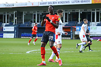 4th May 2021; Kenilworth Road, Luton, Bedfordshire, England; English Football League Championship Football, Luton Town versus Rotherham United; Elijah Adebayo of Luton Town reacts after his shot hits the post