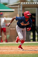 GCL Cardinals Diowill Burgos (49) runs to first base during a Gulf Coast League game against the GCL Marlins on August 12, 2019 at the Roger Dean Chevrolet Stadium Complex in Jupiter, Florida.  GCL Marlins defeated the GCL Cardinals 9-2.  (Mike Janes/Four Seam Images)