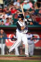 Lansing Lugnuts catcher Mike Reeves (25) at bat during a game against the Peoria Chiefs on June 6, 2015 at Cooley Law School Stadium in Lansing, Michigan.  Lansing defeated Peoria 6-2.  (Mike Janes/Four Seam Images)