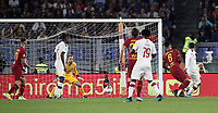 Football, Serie A: AS Roma - AC Milan, Olympic stadium, Rome, October 27, 2019. <br /> Milan's Theo Hernandez (r) scores during the Italian Serie A football match between Roma and Milan at Olympic stadium in Rome, on October 27, 2019. <br /> UPDATE IMAGES PRESS/Isabella Bonotto